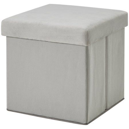 Magnificent Mainstays Ultra Collapsible Storage Ottoman Gray Faux Suede Andrewgaddart Wooden Chair Designs For Living Room Andrewgaddartcom