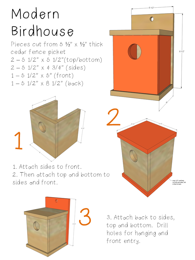 ana white | build a kids kit project: $1 modern birdhouse | free and