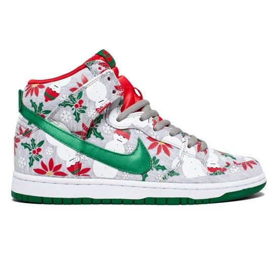Buy Nike SB x Concepts collaboration Dunk High Premium 'Ugly Christmas  Sweater' Quickstrike skateboarding shoes in Grey Heather/Pine Green-University  Red.