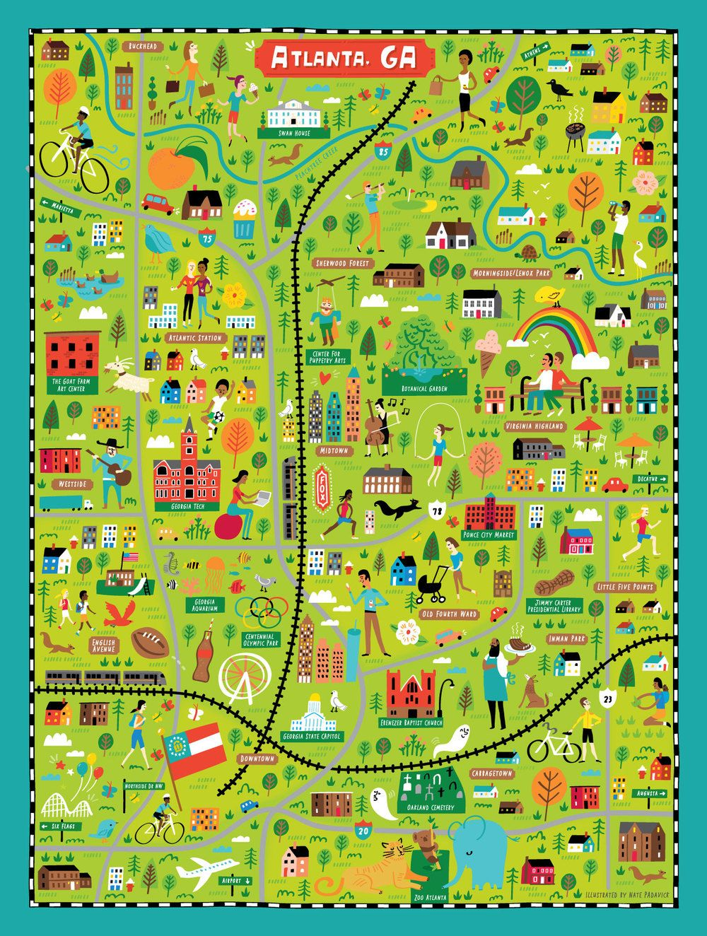 Illustrated map of Atlanta, GA for True South Puzzle Co. by Nate ...