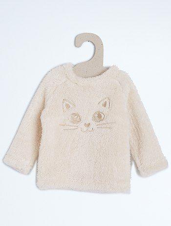553969389 Jersey imitación pelo de borreguito con cabeza de gato Bebé niña Gatitos  Bebés