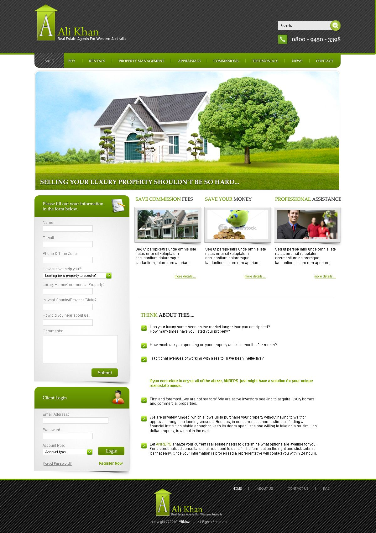 This Website Layout Design For Demo Template For Ali Khan Property