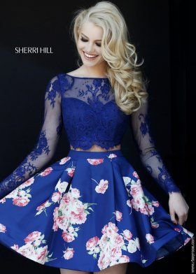 2015 Blue Floral Long Sleeve Lace Crop Top Short Prom