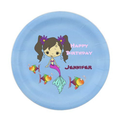 Mermaid Fun Birthday Personalized Paper Plate  sc 1 st  Pinterest & Mermaid Fun Birthday Personalized Paper Plate | Mermaid birthday and ...