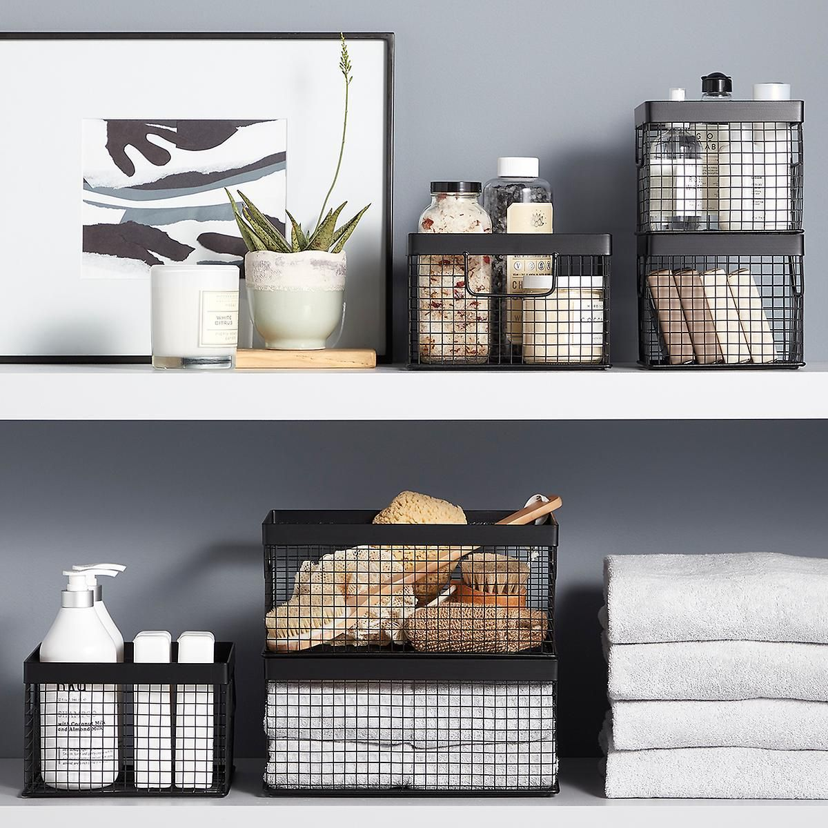 Design Ideas Black Wire Grid Storage Bins In 2020 Storage Bins Decorative Storage Bins Bathroom Basket Storage