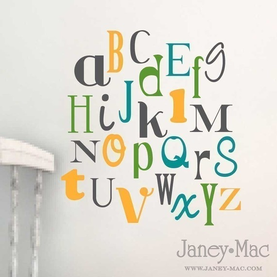 RESERVED Childrens Alphabet Wall Decal Nursery Childrens - Nursery wall decals gender neutral