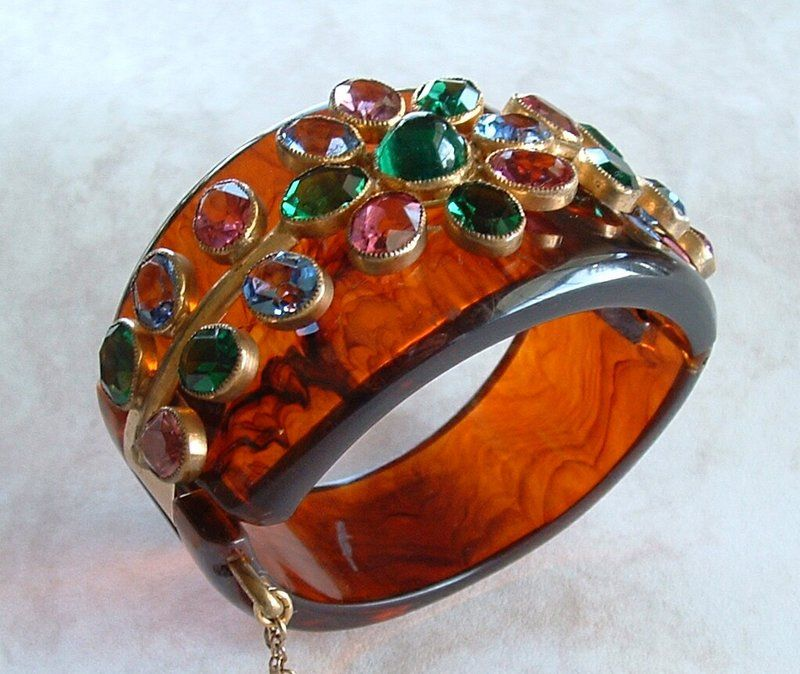 Bakelite Hinged Bracelet colored glass gemstones Attributed to