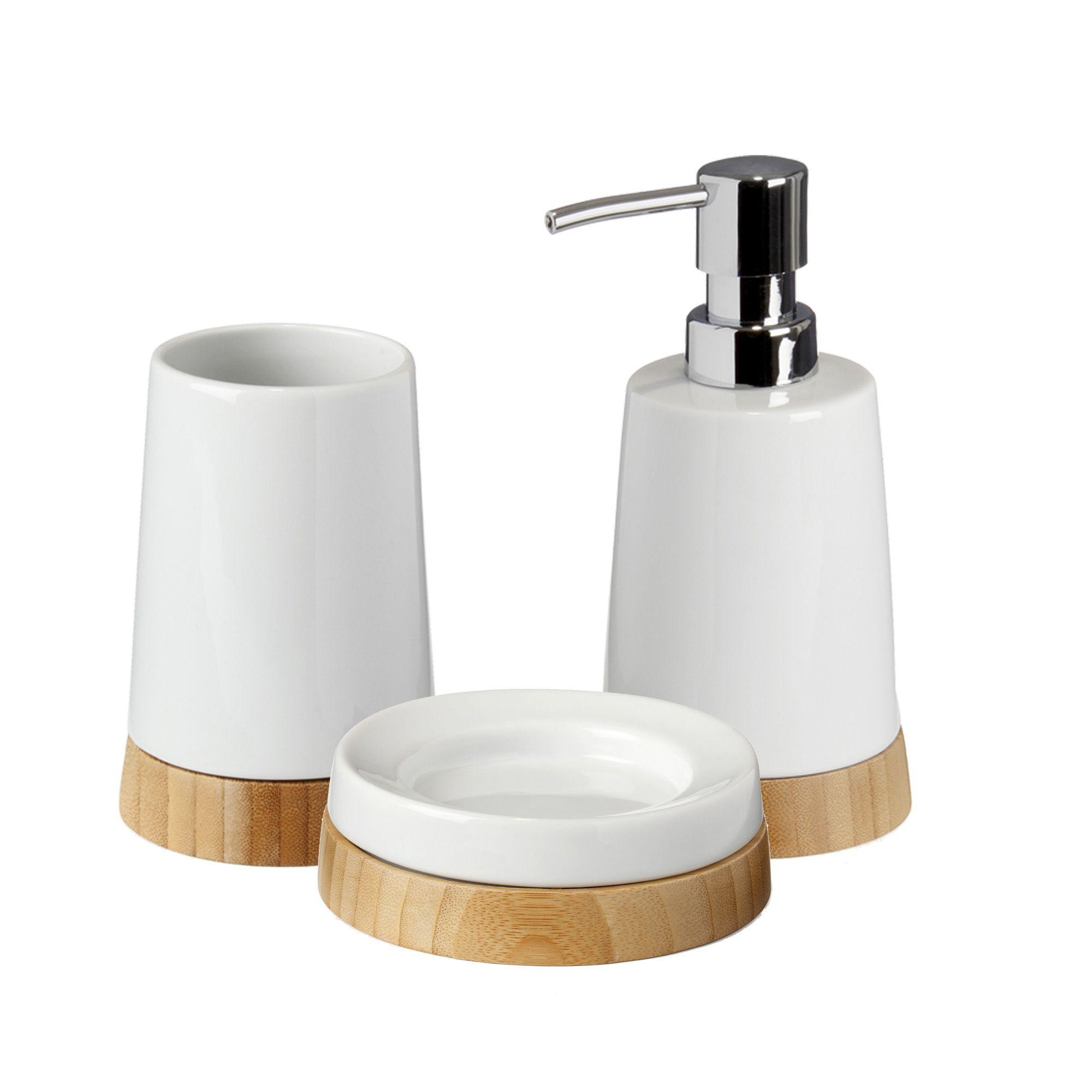 ensemble d 39 accessoires de salle de bains en c ramique et bambou blanc lanca alin a salle de. Black Bedroom Furniture Sets. Home Design Ideas