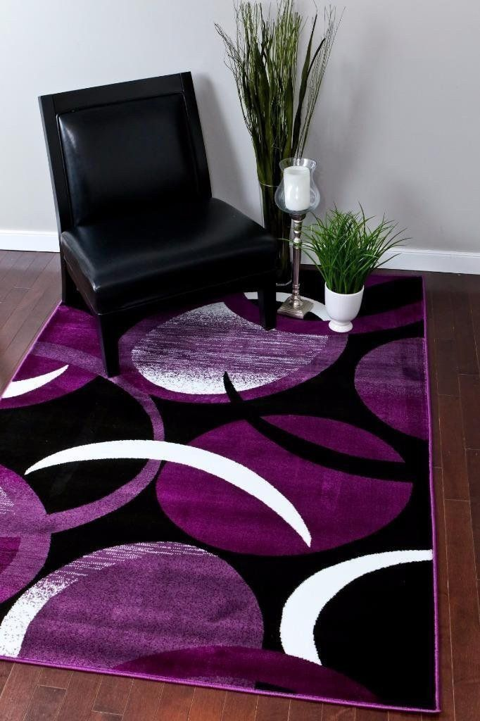 Modern Trendz Purple Black Contemporary Area Rugs Purple Home