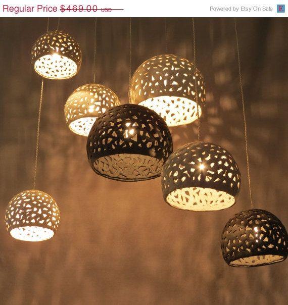 Lighting Hanging Chandelier 7 Ceiling Shades Pendant Etsy Hanging Chandelier Dining Room Light Fixtures Ceramic Light