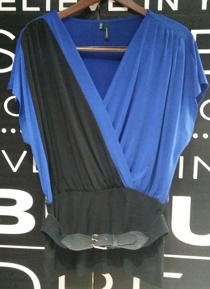 d18d91a38ad Womens Maurices Color block Blouse Black blue MEDIUM shirt top Belt Work  office