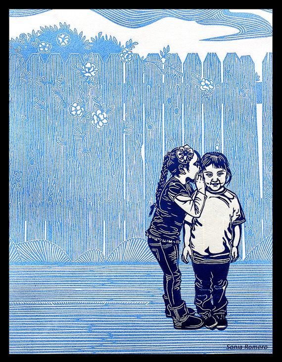 NEW The Secret Linocut Print by SheRidesTheLion on Etsy