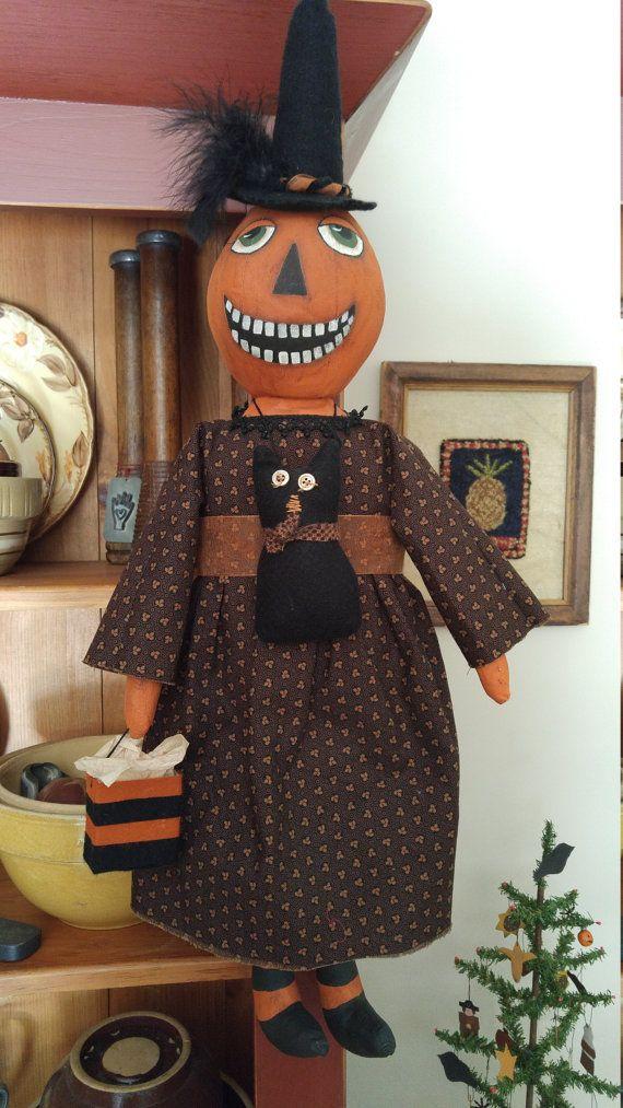 Primitive Handmade Pumpkin Head Witch Decorative by SaltboxPrims