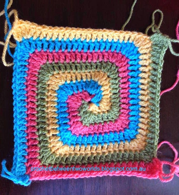 Crochet between worlds: PATTERN: Solid Spiral Granny Square ...