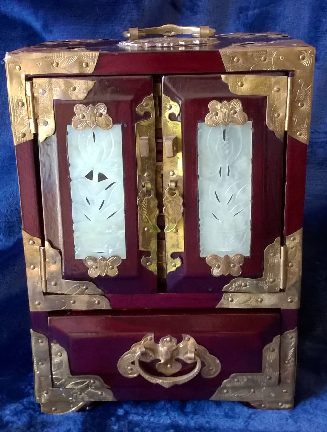 Jewelry Box Vintage Chinese Jewelry Box Armoire Wood Brass