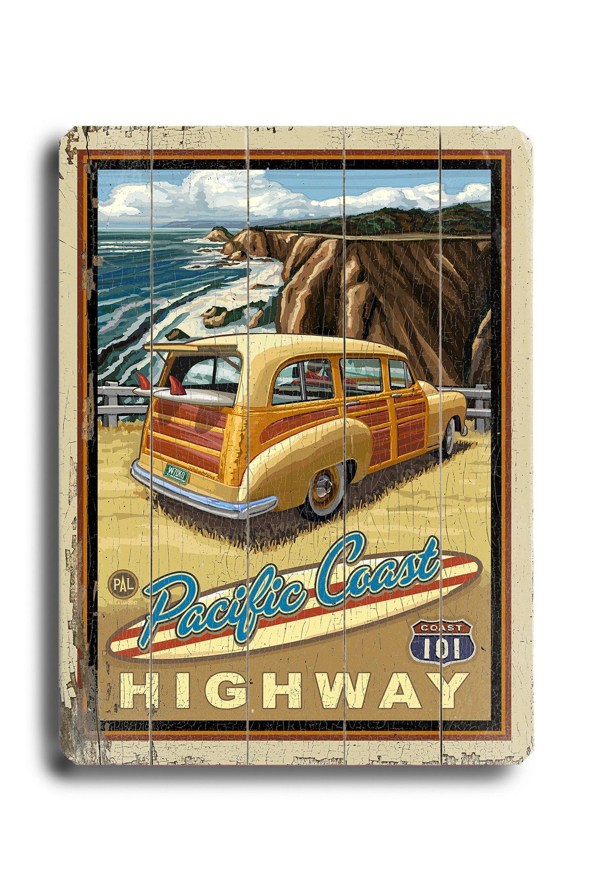Woody At The Beach Unframed Advertisements Print On Wood Wood Sign Art Vintage Travel Posters Vintage Wood Signs