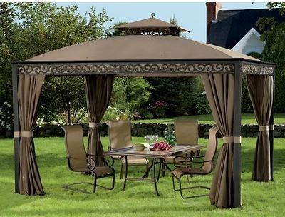 Outdoor 10 X 12 Gazebo W Mosquito Netting Rust Free Aluminum Sturdy Sunjoy