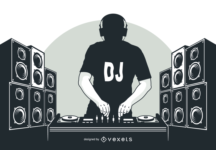Black And White Silhouette Style Hip Hop Dj Boy Playing With Turntable Headphone On The Head T Shirt And Lots Of Large Speakers In A Row Dj Images Dj Logo Dj