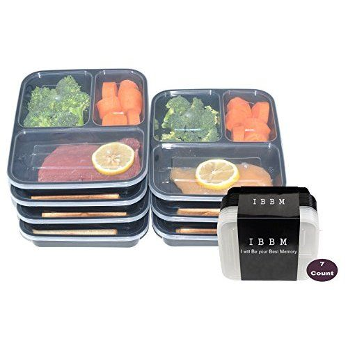 California Home Goods 3 Compartment Reusable Food Storage Containers With Lids Micr Best Meal Prep Containers Containers For Sale Coffee Accessories