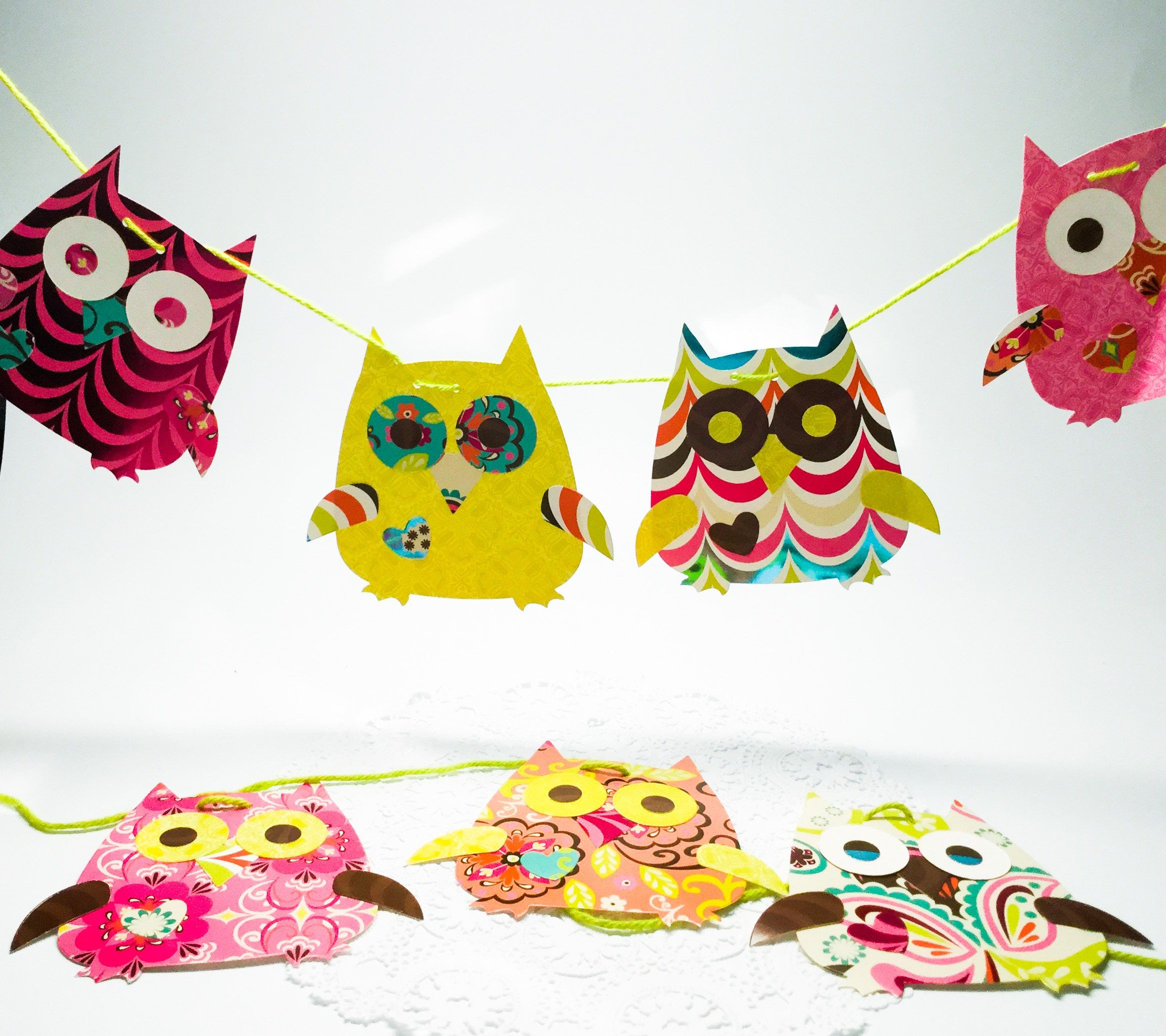 Handmade Owl Garland - Bright - Colorful - lime green - Pink ...