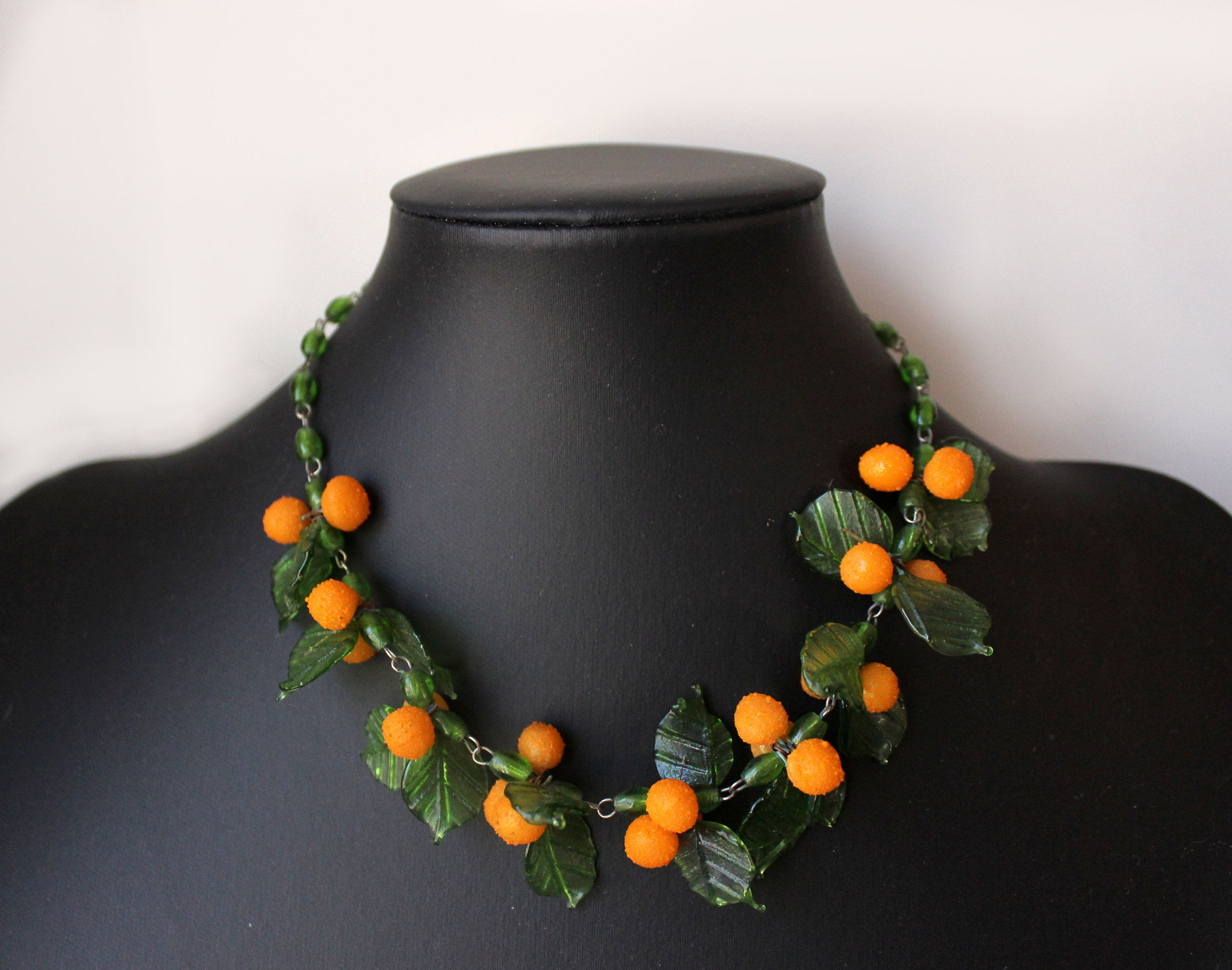 peach yellow glass beads mix silver chain necklace tassel