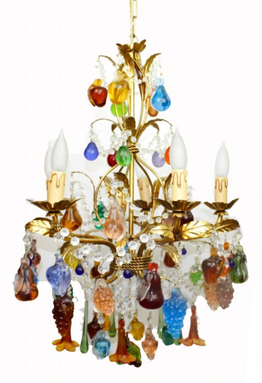 Murano Art Glass Colorful Fruit Gold Chandelier Gold Chandelier