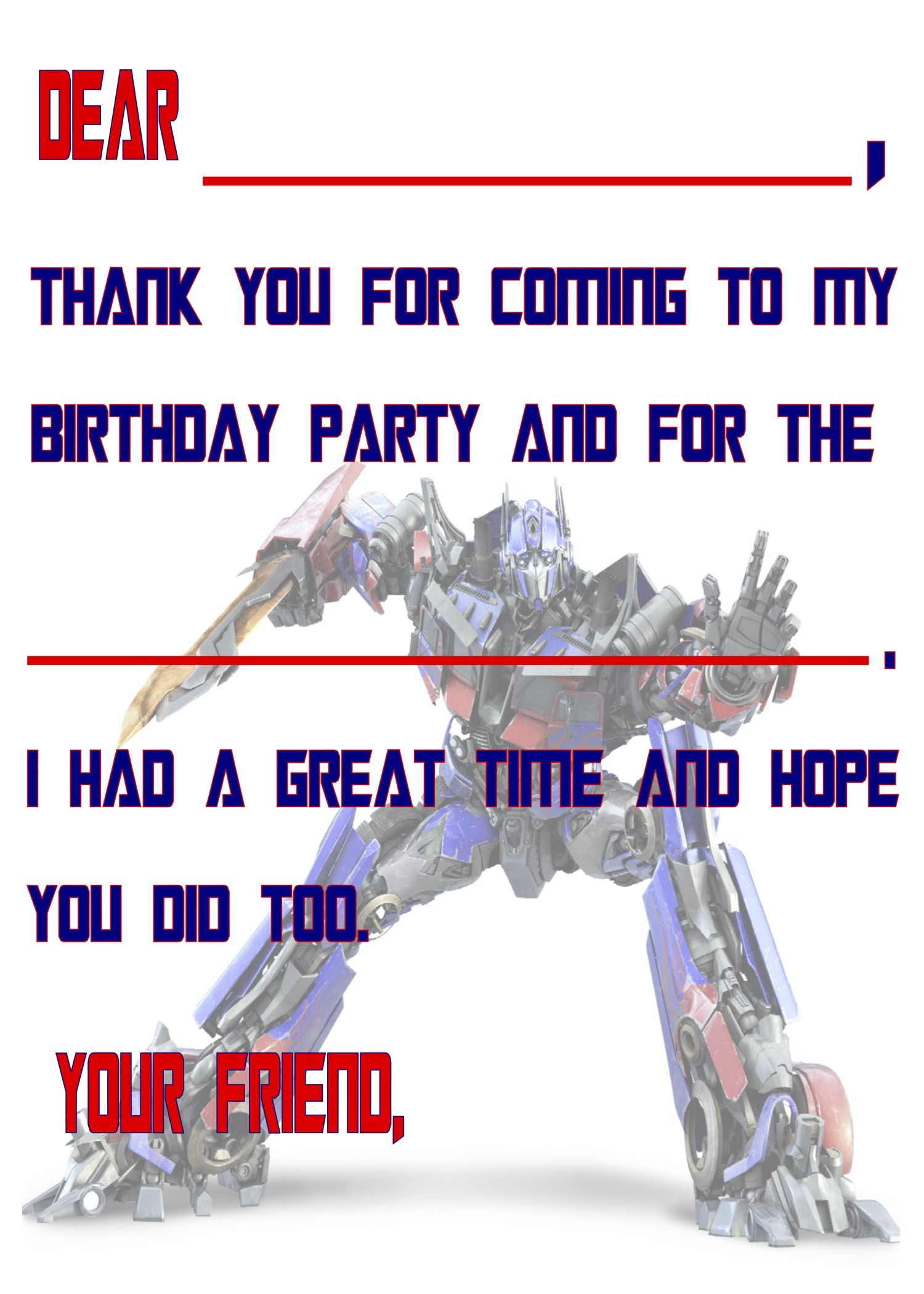 transformers themed birthday party
