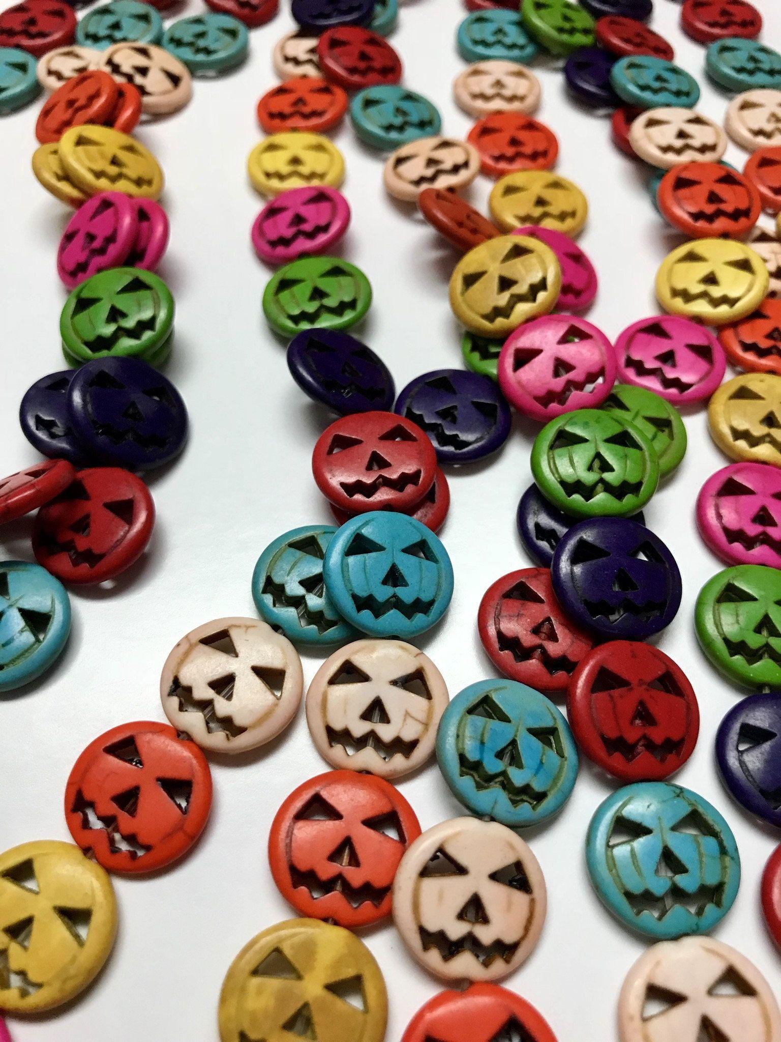 howlite 15mm halloween pumpkin beads