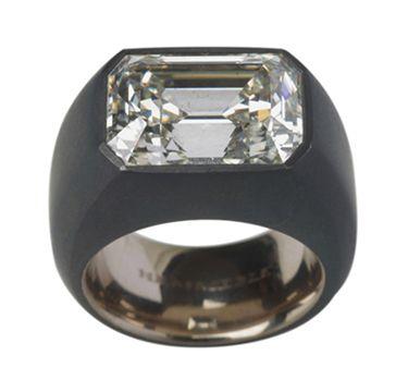 A Rectangular-Cut Diamond  and Iron Ring by Hemmerle https://www.hemmerle.com/en/0/0-0-0-rings/