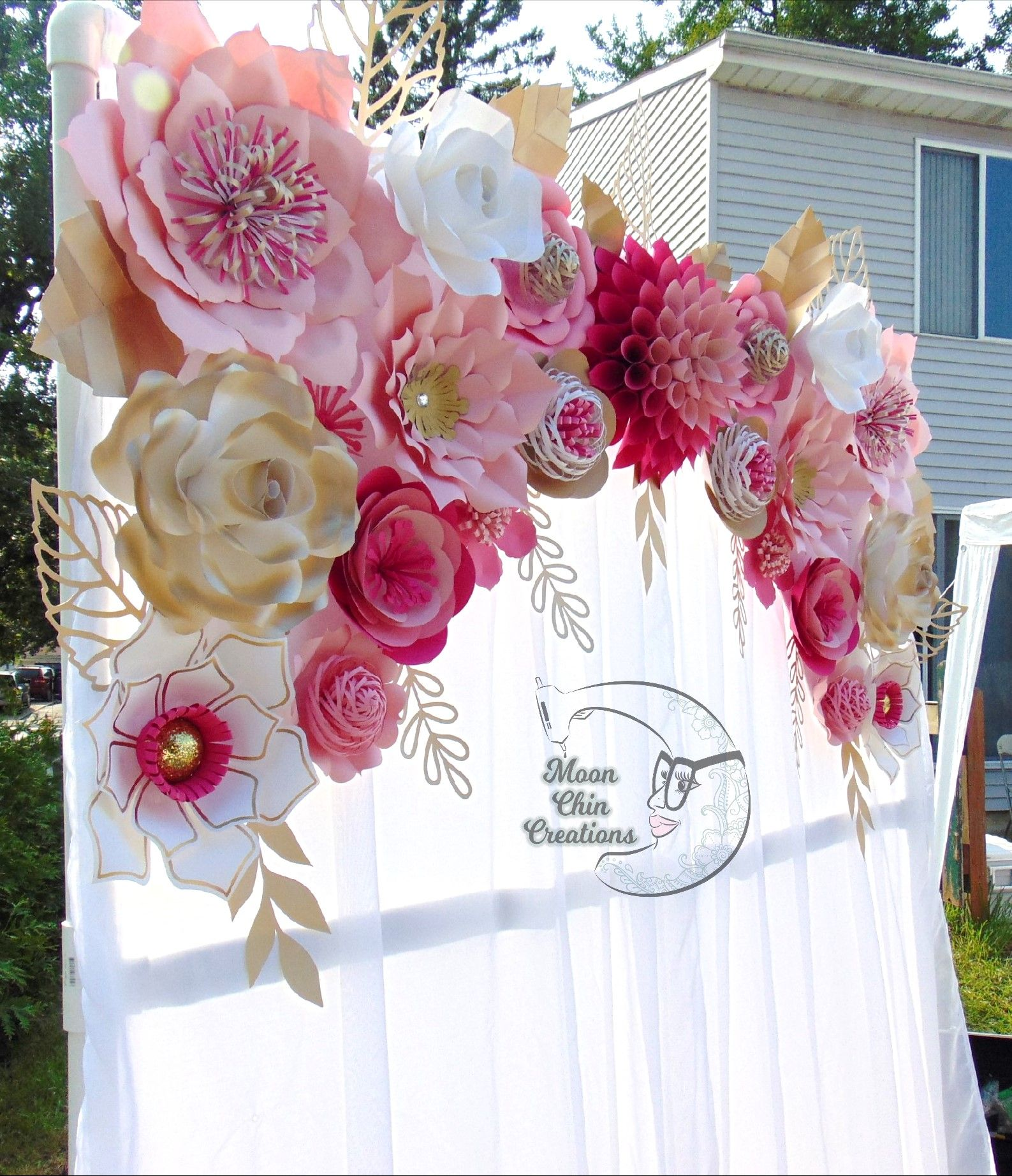Pink White And Gold Paper Flower Backdrop Outdoor Stand Please