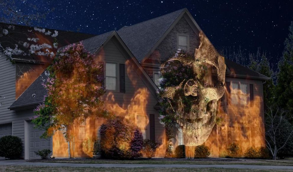 SEE VIDEO HALLOWEEN HOUSE HD OUTDOOR PROJECTOR KIT ANIMATED Decor
