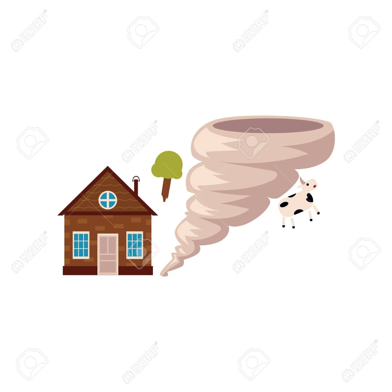 Cottage House In Danger Of Being Destroyed By Storm Hurricane Tornado Cartoon Vector Illustration Isol Cottage Homes Home Insurance Building Cartoons Vector