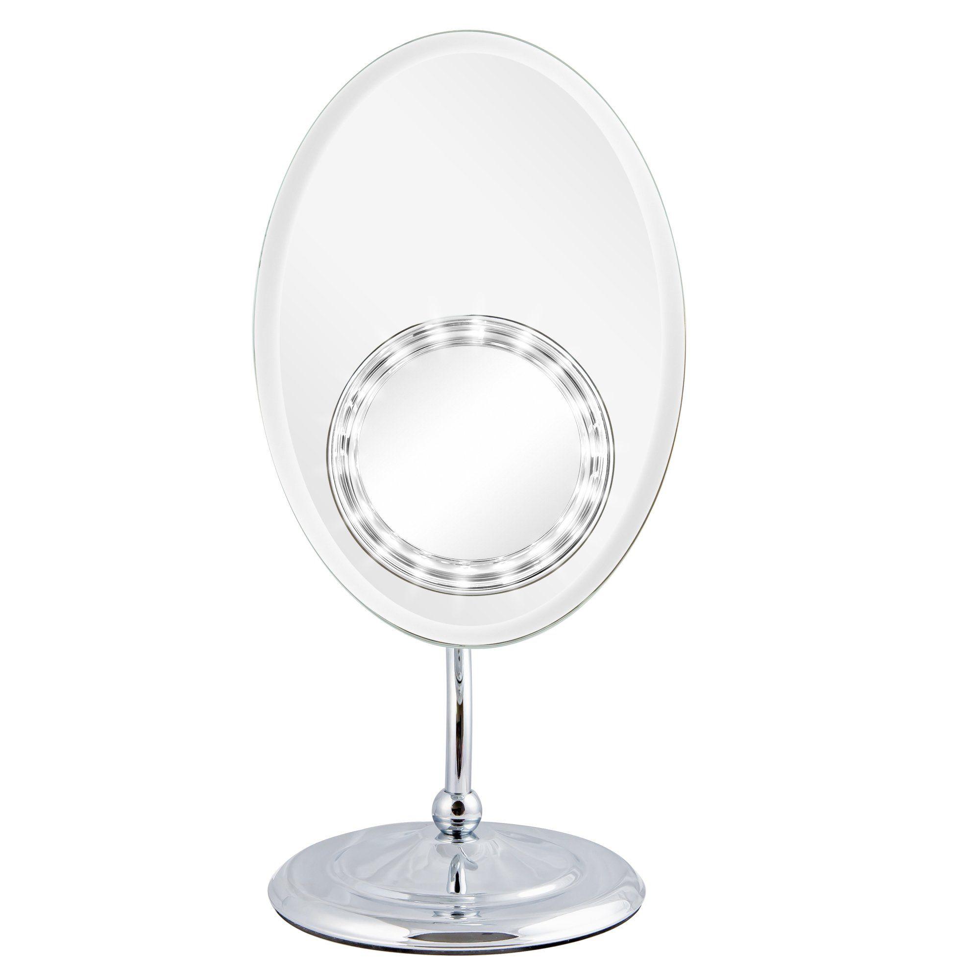 Elliptischer rahmenloser Schminkspiegel mit abnehmbarem LED-Vergrößerungssaugspiegel (M961)