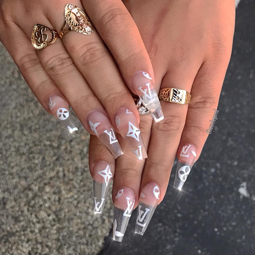 Chaun P On Instagram Lv Drip Beehturner Using Crystal Clear Acrylic From Valentinobeautyp Long Acrylic Nails Clear Acrylic Nails Coffin Nails Designs