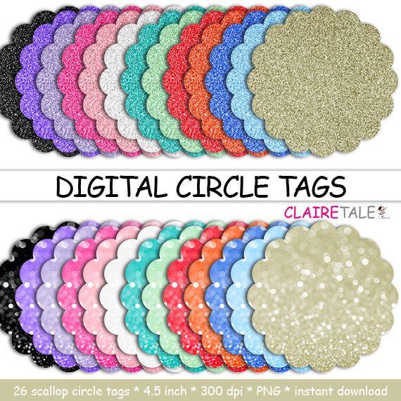 Digital Scalloped Circle Tags Quot Digital Circle Tags Quot Scalloped Circle Glitter Bokeh Labels Glitter Frame Glitter Frame Glitter Cake Topper Clip Art
