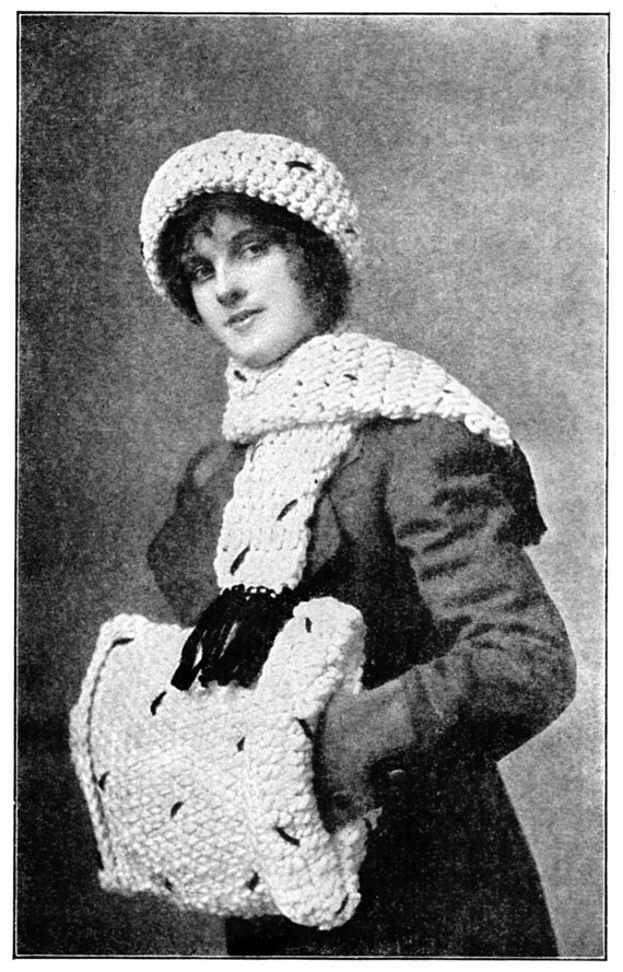 Vintage Crochet Hat/Scarf/Muff Pattern 1910\'s Frozen Style Bulky ...