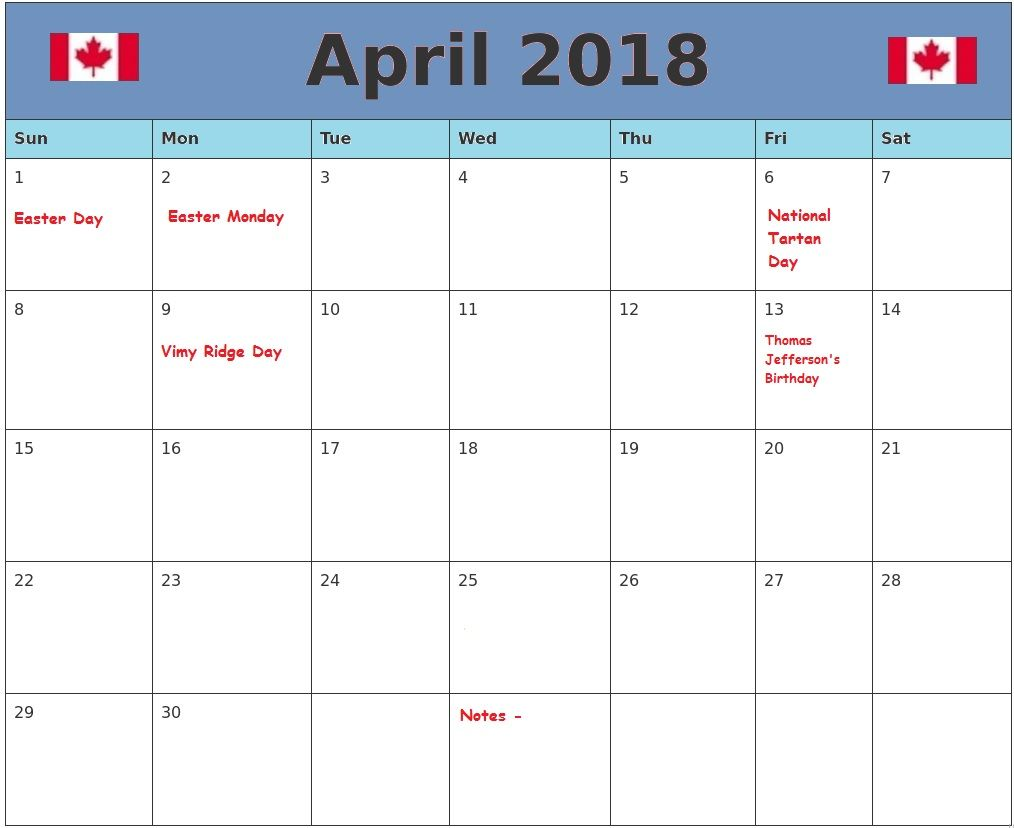 free april 2018 canada holidays calendar