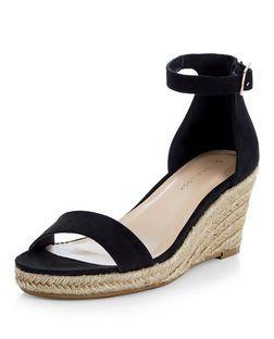 119e074363b Black Suedette Ankle Strap Espadrille Wedges | New Look | Fashion ...