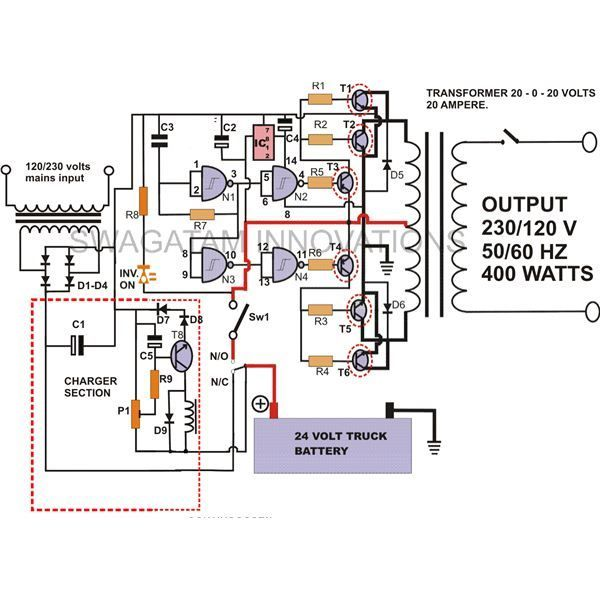 30a342124f43ebbf3c6b1ebda67d4e1c how to build a 400 watt high power inverter circuit with built in RV Power Inverter Wiring Diagram at soozxer.org