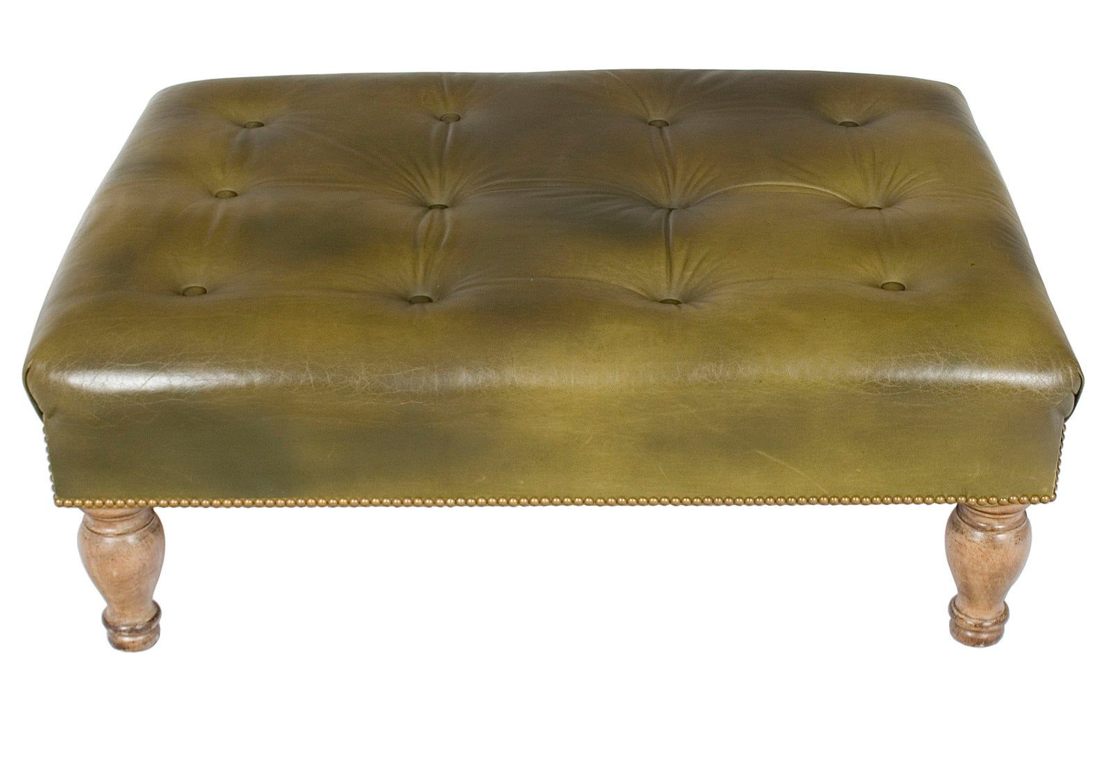 Vintage Tufted Green Leather Large Ottoman Etsy Large Leather