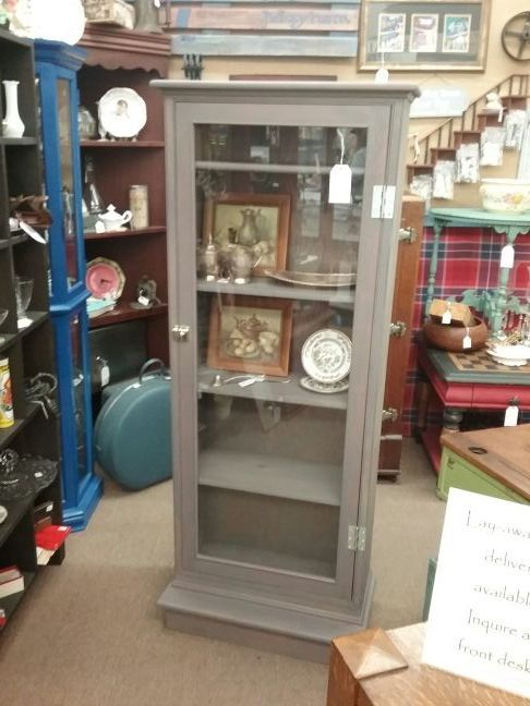 245 This Vintage Pine Cabinet Has A Single Glass Door And 5
