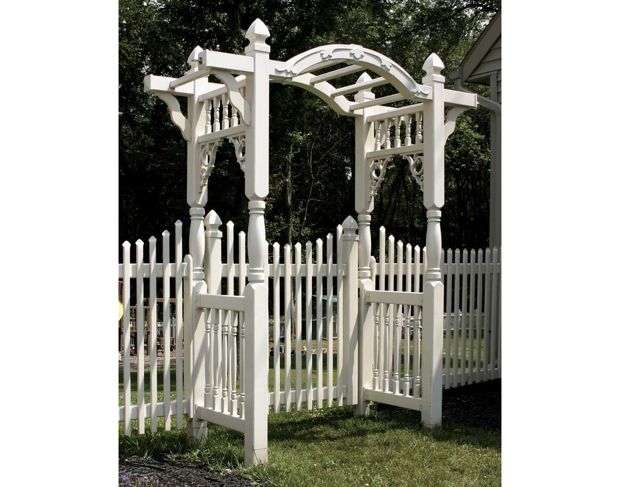 A arbor made from old table legs spindles and misc wood i never