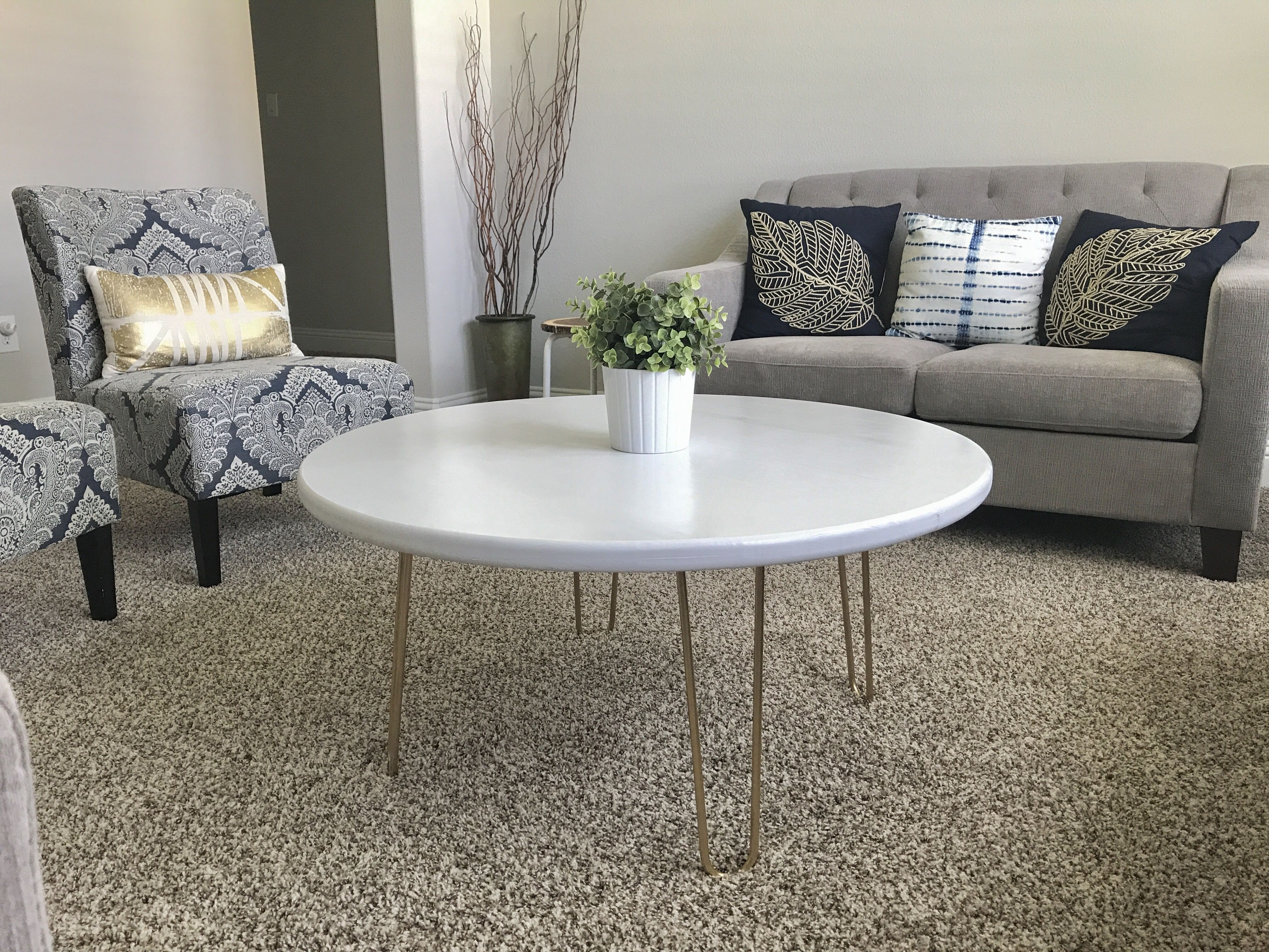 White Round Table Top With Gold Hairpin Legs Had The Tabletop