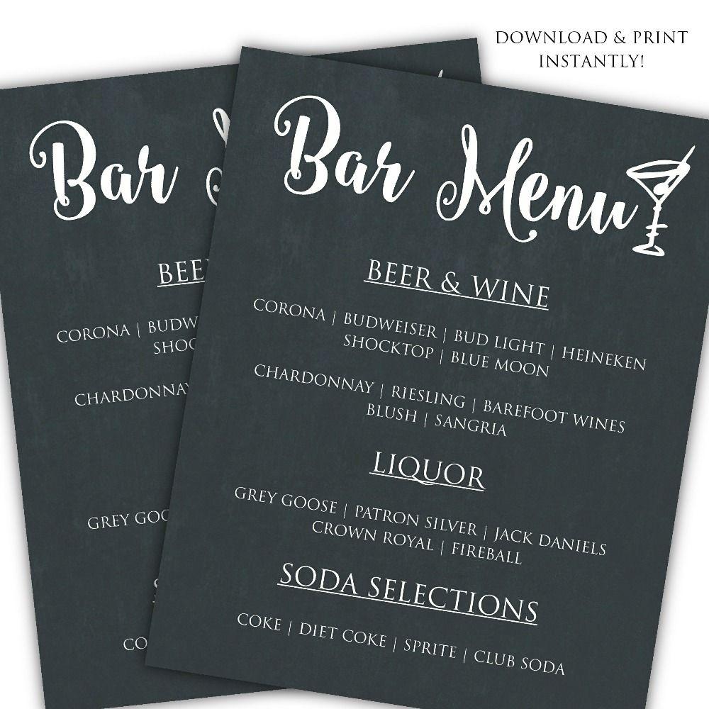 Printable DIY Bar Menu Template   Posh Pixel Designs