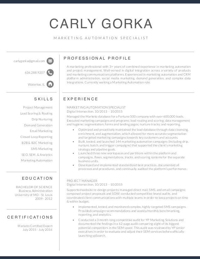Carly Gorka Resume Marketing Automation Specialist Marketo - Integration Specialist Sample Resume