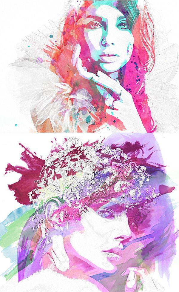Watercolor Pencil Photoshop Action Photoshop Illustrator