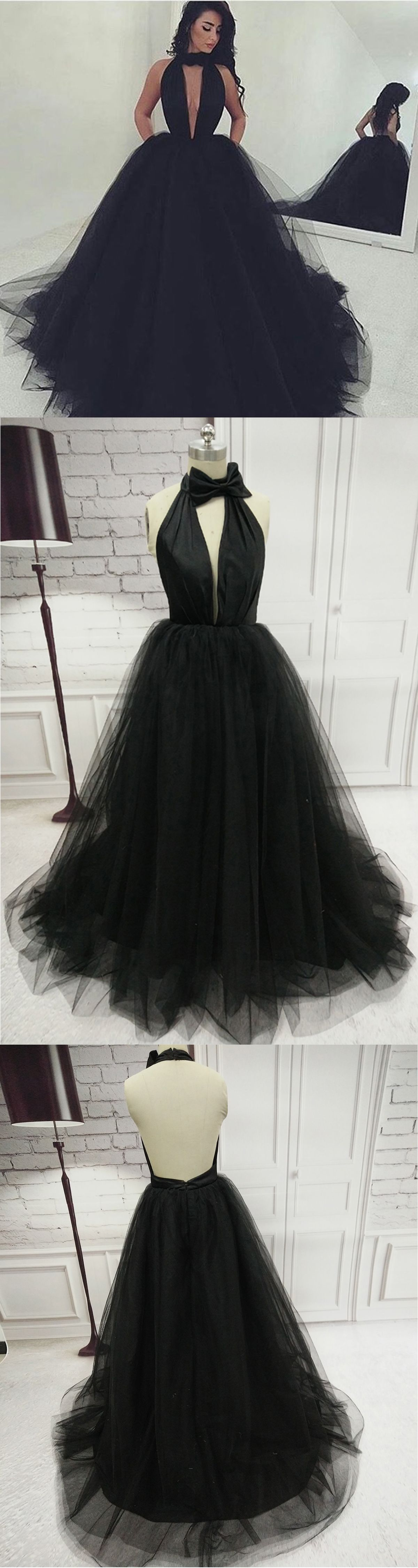 Simple black tulle backless long evening dress long tulle party