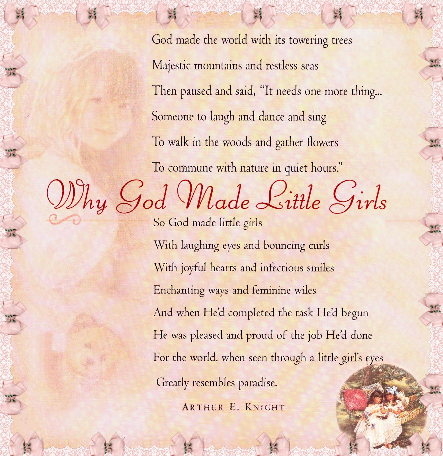 Why God Made Little Girls Inspirational English Quotes Baby