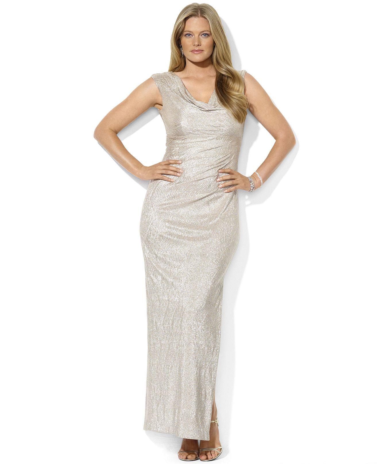 Metallic wedding dress  Lauren Ralph Lauren Dress CapSleeve Metallic CowlNeck Gown