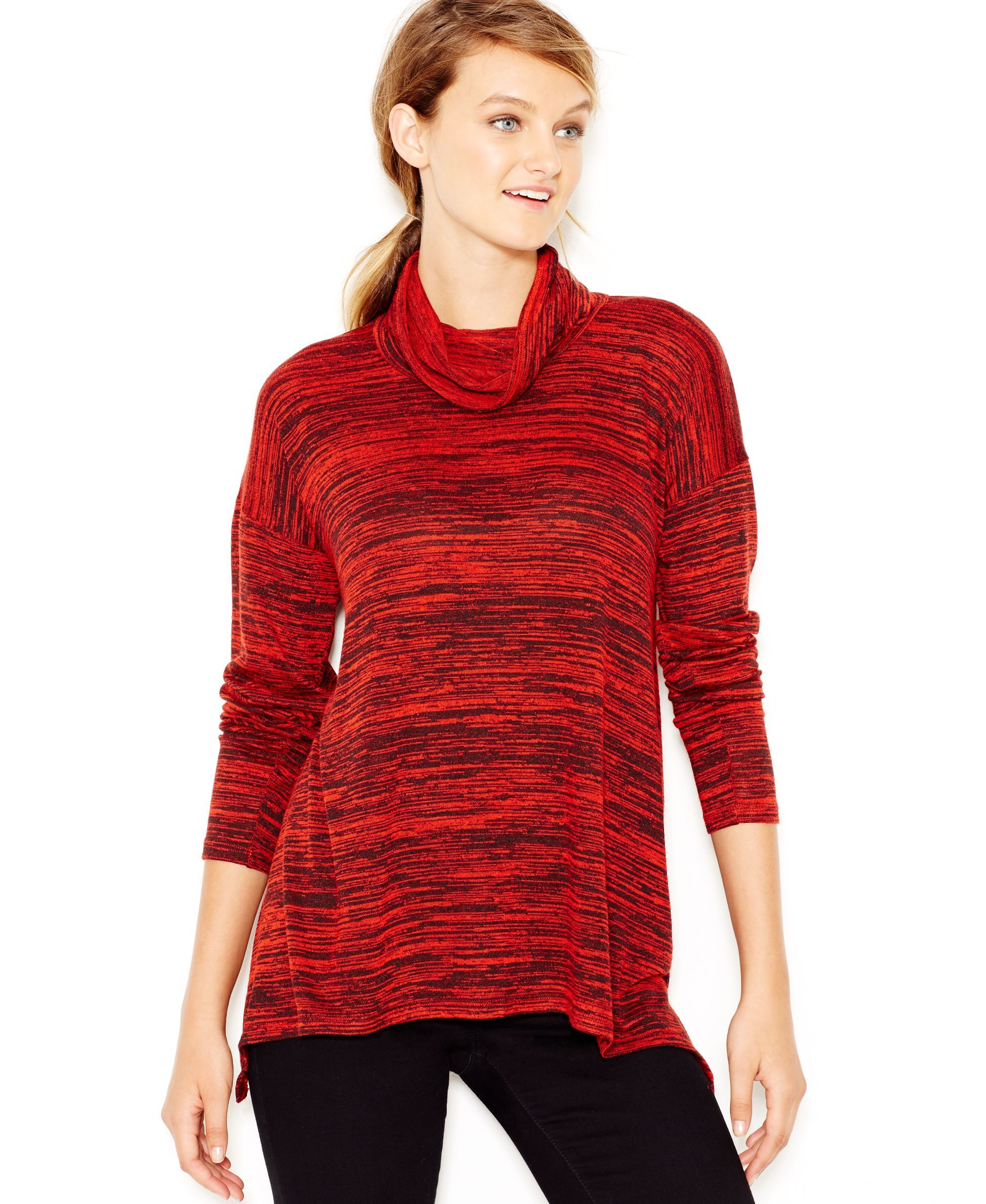 kensie Space-Dye Cowl-Neck Sweater